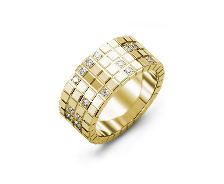 Men's & Women's Yellow Gold + 17 Diamonds 0.34ct Wedding Band 10K 10mm