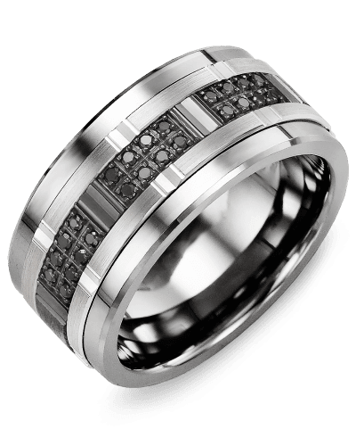 MJE110TX-24B Men's Tungsten & Gold Wedding Band