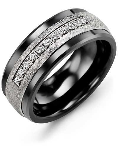 Men's & Women's Black Ceramic & White Gold + 15 Diamonds 0.15ct Wedding Band
