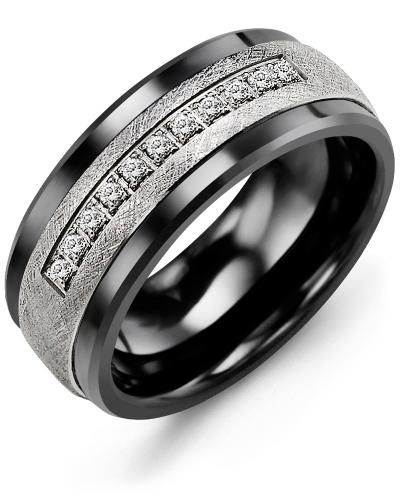 Men's & Women's Black Ceramic & White Gold + 15 Diamonds tcw 0.15 Wedding Band 10K 7mm