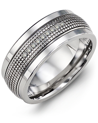 Men's & Women's Cobalt & White Gold + 9 Diamonds tcw 0.09 Wedding Band