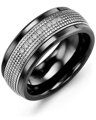 Men's & Women's Black Ceramic & White Gold + 9 Diamonds tcw 0.09 Wedding Band 10K 9mm