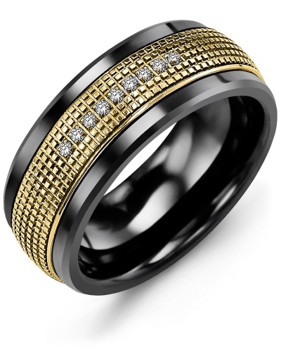 Men's & Women's Black Ceramic & Yellow Gold + 9 Diamonds tcw 0.09 Wedding Band 10K 9mm