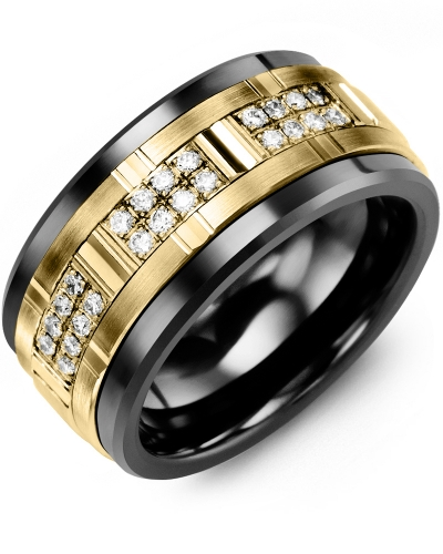 Men's & Women's Black Ceramic & Yellow Gold + 24 Diamonds 0.24ct Wedding Band