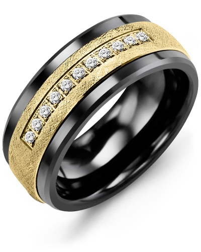 Men's & Women's Black Ceramic & Yellow Gold + 15 Diamonds tcw 0.15 Wedding Band 10K 4mm