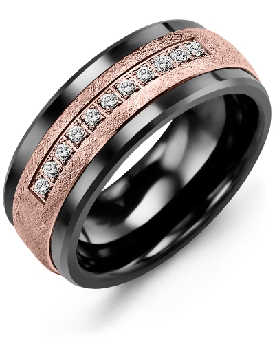 Men's & Women's Black Ceramic & Rose Gold + 15 Diamonds 0.15ct Wedding Band