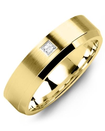 Men's & Women's Yellow Gold + 1 Diamond 0.05ct Wedding Band