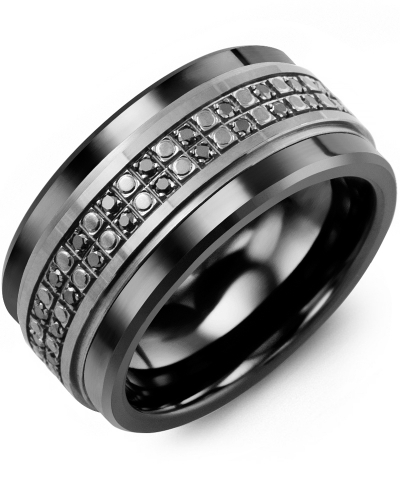 Men's & Women's Black Ceramic & Black Gold + 50 Black Diamonds tcw 0.50 Wedding Band