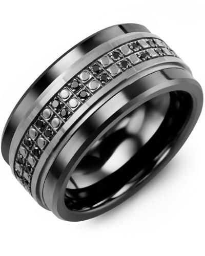 Men's & Women's Black Ceramic & Black Gold + 50 Black Diamonds 0.50ct Wedding Band