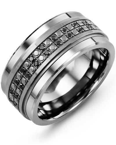 Men's & Women's Cobalt & Black Gold + 50 Black Diamonds 0.50ct Wedding Band