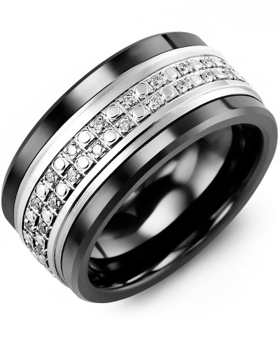Men's & Women's Black Ceramic & White Gold + 23 Diamonds tcw 0.23 Wedding Band
