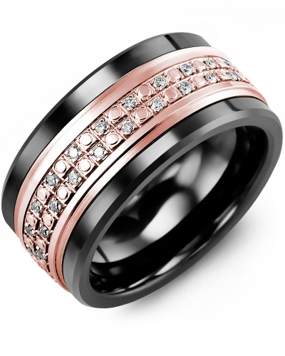 Men's & Women's Black Ceramic & Rose Gold + 23 Diamonds tcw 0.23 Wedding Band
