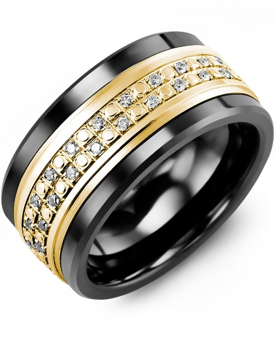 Men's & Women's Black Ceramic & Yellow Gold + 23 Diamonds 0.23ct Wedding Band