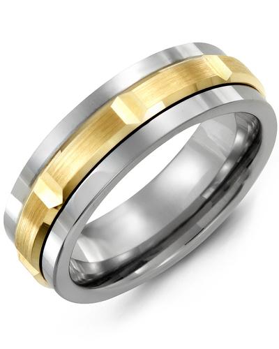 Men's & Women's Tungsten & Yellow Gold Wedding Band