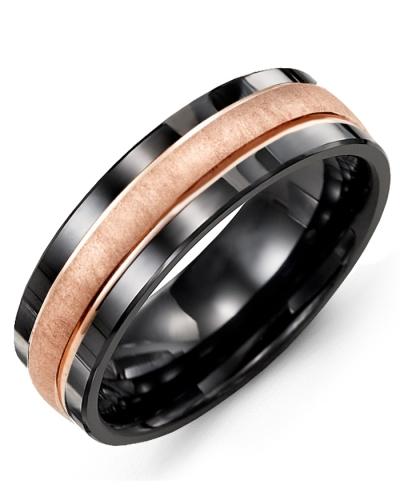 Men's & Women's Black Ceramic & Rose Gold Wedding Band