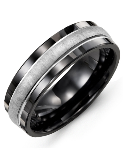 Men's & Women's Black Ceramic & White Gold Wedding Band from MADANI Rings. Wedding bands, fashion rings, promise rings, made of Tungsten, Ceramic, Cobalt, and Gold. View the collection at madanirings.com