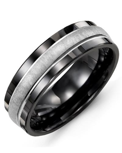 Men's & Women's Black Ceramic & White Gold Wedding Band 10K 9mm