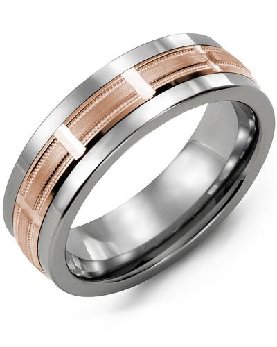 Men's & Women's Tungsten & Rose Gold Wedding Band