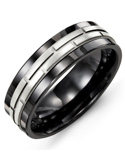 Men's & Women's Black Ceramic & White Gold Wedding Band 18K 7mm