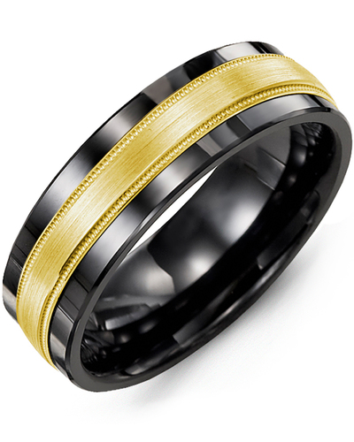 Men's & Women's Black Ceramic & Yellow Gold Wedding Band