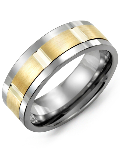 Men's & Women's Tungsten & Yellow Gold Wedding Band