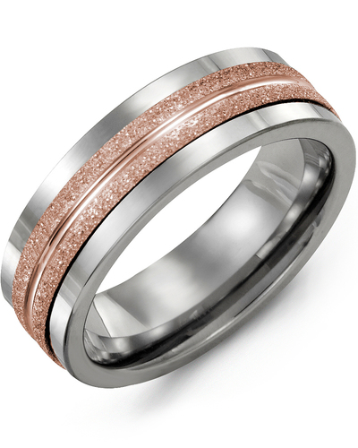 Men's & Women's Tungsten & Rose Gold Wedding Band