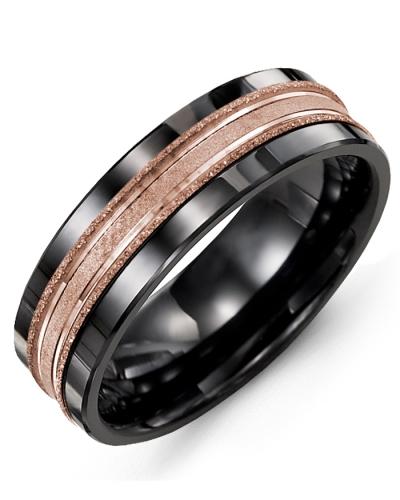 Men's & Women's Black Ceramic & Rose Gold Wedding Band 10K 11mm