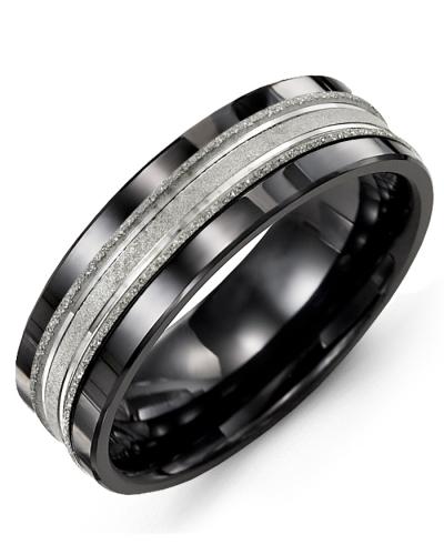 Men's & Women's Black Ceramic & White Gold Wedding Band 10K 11mm