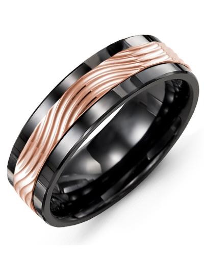 Men's & Women's Black Ceramic & Rose Gold Wedding Band 10K 10mm