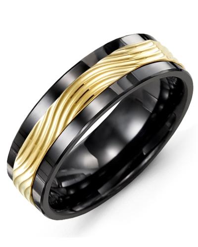 Men's & Women's Black Ceramic & Yellow Gold Wedding Band 10K 10mm