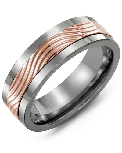 Men's & Women's Cobalt & Rose Gold Wedding Band from MADANI Rings. Wedding bands, fashion rings, promise rings, made of Tungsten, Ceramic, Cobalt, and Gold. View the collection at madanirings.com