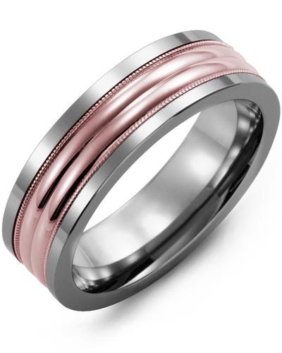 Men's & Women's Cobalt & Rose Gold Wedding Band