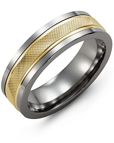 Men's & Women's Tungsten & Yellow Gold Wedding Band 10K 11mm