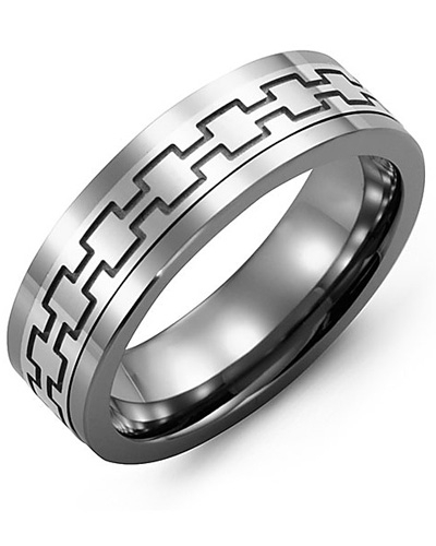 Men's & Women's Tungsten & White Gold Wedding Band 10K 11mm