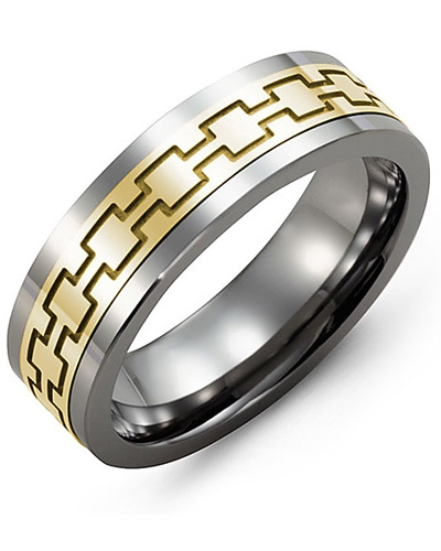 Men's & Women's Tungsten & Yellow Gold Wedding Band 10K 10mm