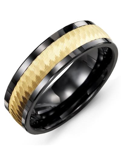 Men's & Women's Black Ceramic & Yellow Gold Wedding Band 10K 11mm