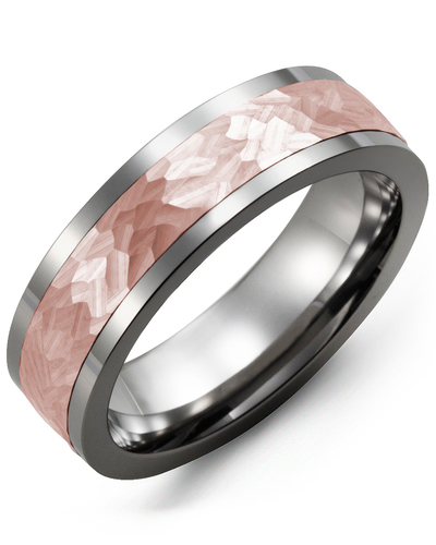 Men's & Women's Cobalt & Rose Gold Wedding Band