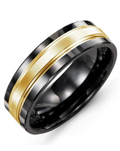 Men's & Women's Black Ceramic & Yellow Gold Wedding Band 10K 11mm