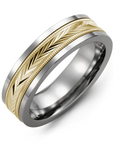 Men's & Women's Cobalt & Yellow Gold Wedding Band