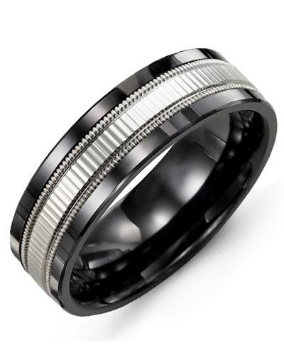 Men's & Women's Black Ceramic & White Gold Wedding Band 10K 10mm