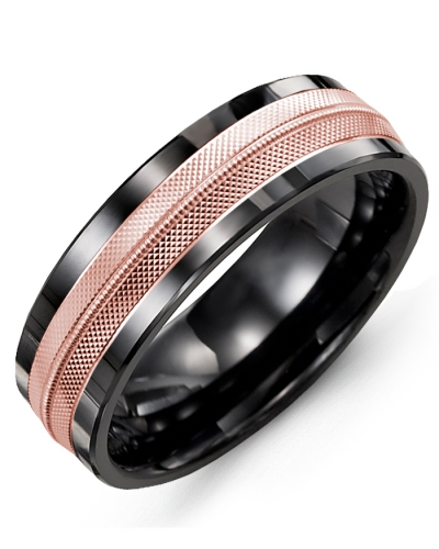 Men's & Women's Black Ceramic & Rose Gold Wedding Band