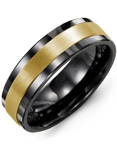 Men's & Women's Black Ceramic & Yellow Gold Wedding Band