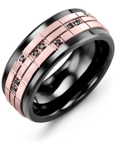 Men's & Women's Black Ceramic & Rose Gold + 14 Black Diamonds 0.14ct Wedding Band