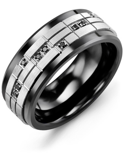 Men's & Women's Black Ceramic & White Gold + 14 Black Diamonds 0.14ct Wedding Band