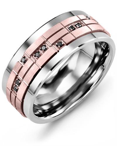 Men's & Women's Tungsten & Rose Gold + 14 Black Diamonds 0.14ct Wedding Band