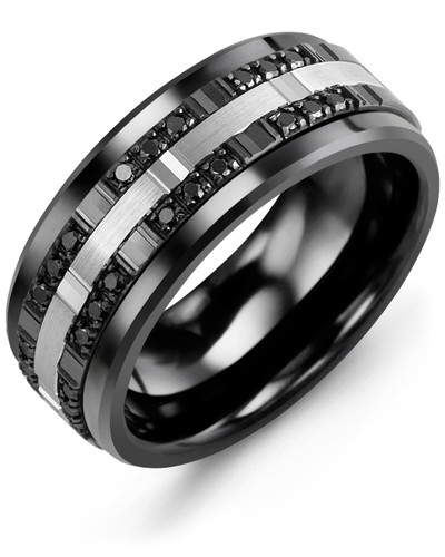 Men's & Women's Black Ceramic & White/Black Gold + 24 Black Diamonds 0.24ct Wedding Band