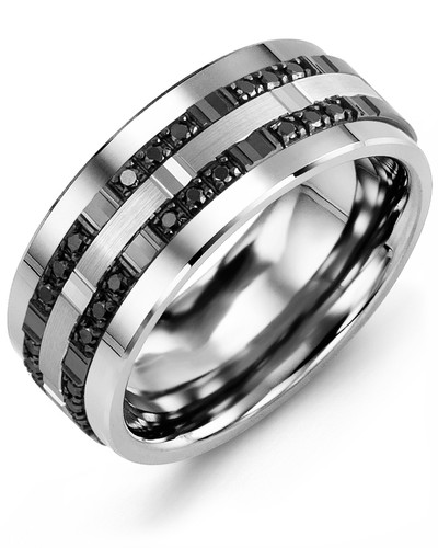 Men's & Women's Tungsten & White/Black Gold + 24 Black Diamonds 0.24ct Wedding Band