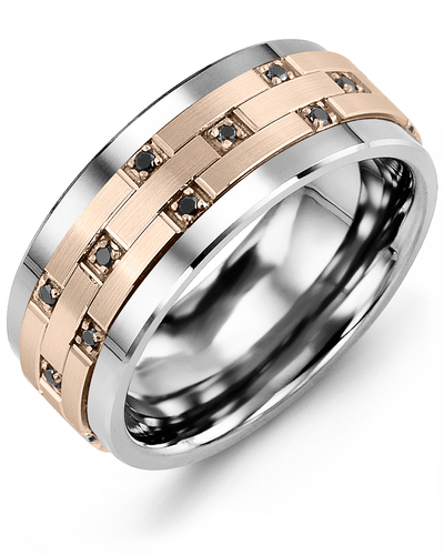 Men's & Women's Tungsten & Rose Gold + 10 Black Diamonds 0.10ct Wedding Band