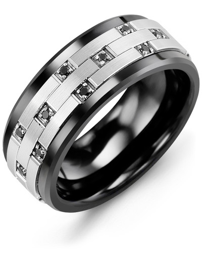 Black Ceramic & White Gold + 24 Black Diamonds tcw. 0.24