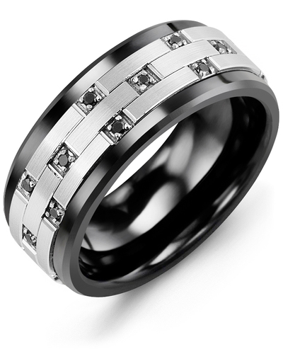 Men's & Women's Black Ceramic & White Gold + 10 Black Diamonds 0.10ct Wedding Band